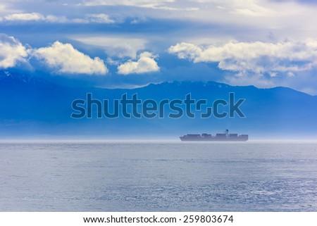 Oil Tanker In the Fog - stock photo