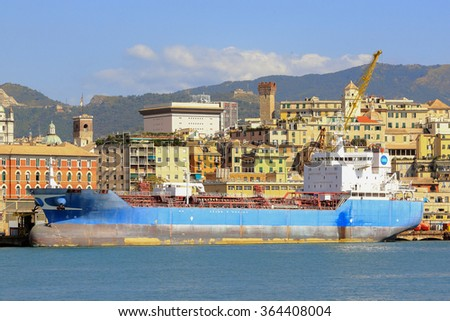 Oil tanker in the port of Genoa - stock photo