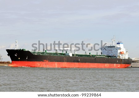 oil tanker in the port of rotterdam netherlands - stock photo