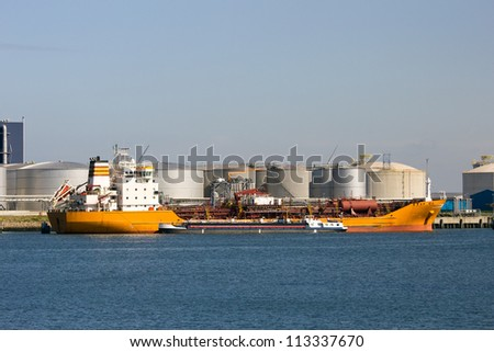 Oil tanker moored in the Port of Rotterdam - stock photo
