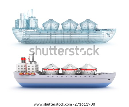 Oil tanker ship and wire model - stock photo
