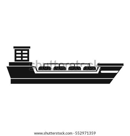 Oil Tanker Ship Icon Simple Illustration Stock ...