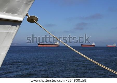 Oil tankers anchored in the Columbia river near  Astoria, Oregon - stock photo