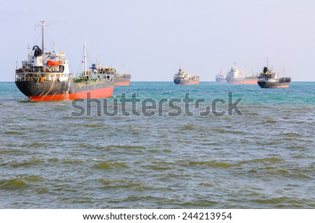 Oil tankers at sea - stock photo