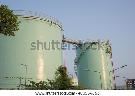 oil tanks in a refinery Abstract background