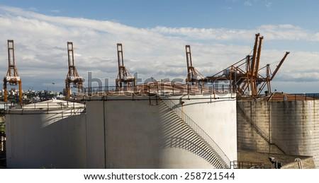 Oil tanks on the Perama port  - stock photo