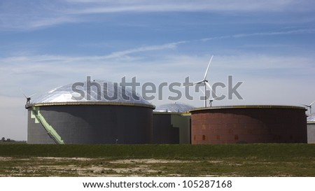 oil tanks with blue sky - stock photo