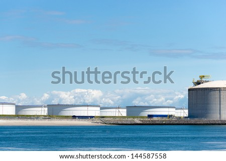 Oil terminal for the storage and production of oil and petrochemical products - stock photo