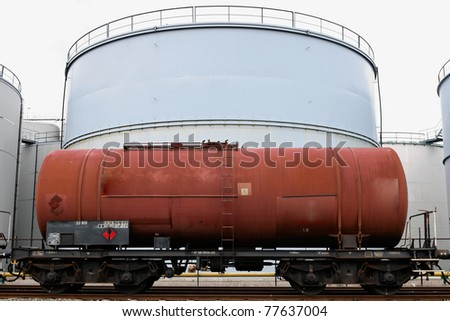 oil train and oil storage tank - stock photo