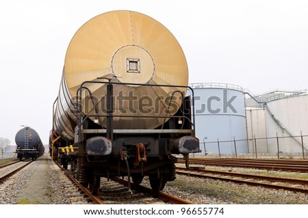 oil transport train - stock photo