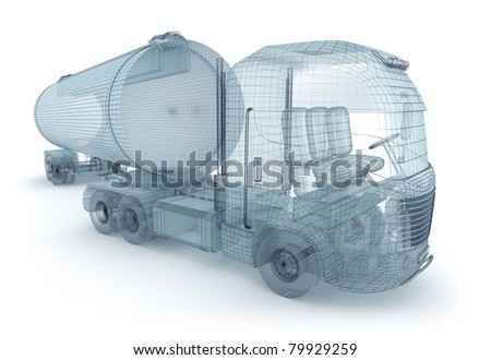 Oil truck with cargo container, wire model. My own design - stock photo