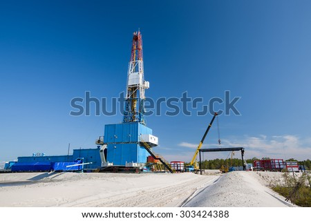 oil well for oil and gas production, installation - stock photo
