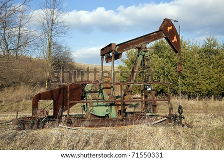 Oil well pump seen in Ohio - stock photo