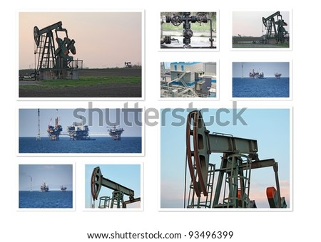 Oil wells collage - stock photo
