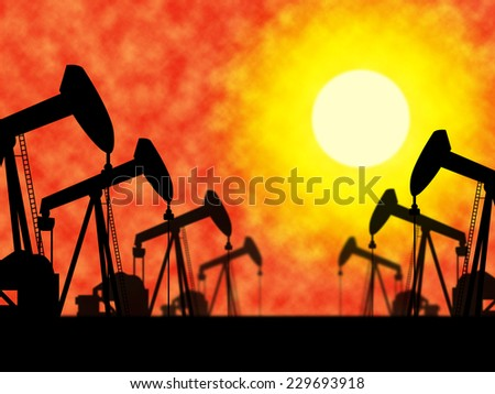 Oil Wells Indicating Extracting Drilling And Drill - stock photo