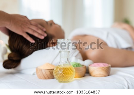 Oils and salts used in a spa massage