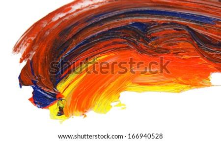 Oily paint brushstrokes isolated on white - stock photo