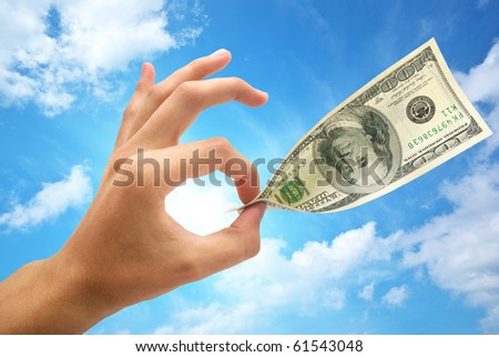Ok and dollar. Element of bussines design. - stock photo