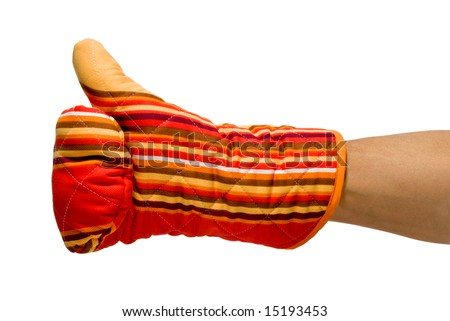 ok gesture with a red oven glove