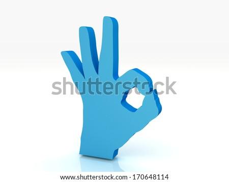 OK hand symbol 3d render - stock photo