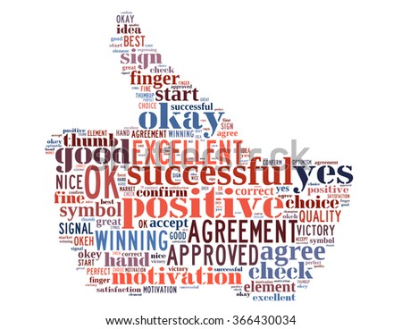 OK hand symbol, word cloud concept on white background. - stock photo