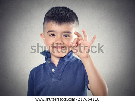 ok happy child. body language, sing, symbol, face expression - stock photo