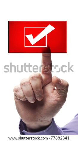 Ok sign button pressed by male hand - stock photo