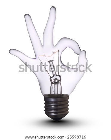 OK Sign Gesture Hand lamp bulb. Lightbulb Concept of Business Success, Saving Energy and Ecology Environment