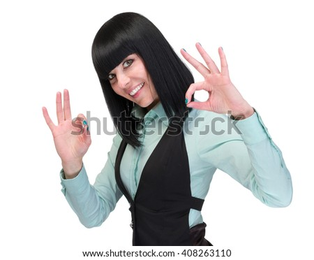 OK sign woman. Businesswoman showing okay hand sign. Successful and beautiful caucasian business woman isolated on white. - stock photo