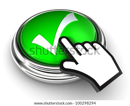 ok tick check mark symbol on green button with cursor hand on white background. clipping paths included - stock photo