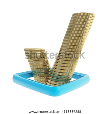 Ok tick sign blue checkbox made of golden coin stacks isolated on white background - stock photo