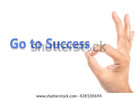 OK to Success in  hand sign with isolate white background - stock photo