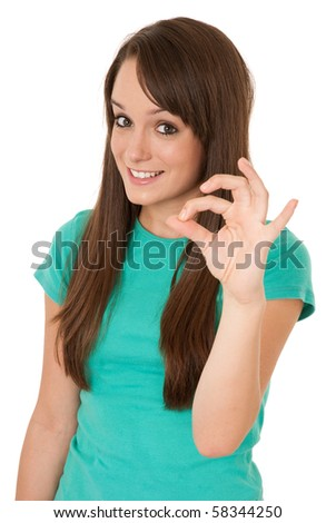 Ok, woman giving okay gesture isolated on white