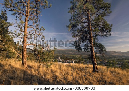 Okanagan Highland range, Kelowna and Knox Mountain Park, British Columbia, Canada - stock photo