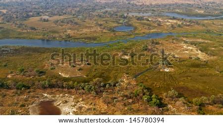 Okavango delta from the air - stock photo
