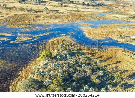 Okavango delta (or Okavango Grassland) is one of the Seven Natural Wonders of Africa (view from the airplane) - Botswana - stock photo