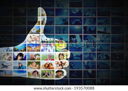 Okay gesture. Hand on the collage of pictures, photos background. Concepts of internet, modern communication, network - stock photo