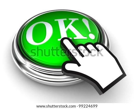 okey red button and cursor hand on white background. clipping paths included