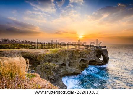 Okinawa, Japan at Manzamo Cape during sunset. - stock photo