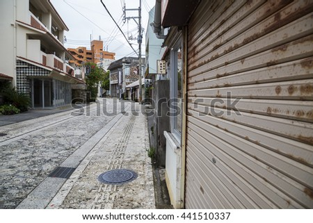 OKINAWA, JAPAN - June 13, 2016 : Closed shop in Tsuboya Pottery Village