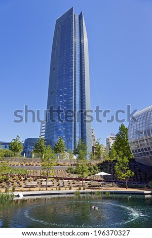OKLAHOMA CITY, OKLAHOMA-APRIL 23, 2012: Devon Energy Center is a 52-story corporate skyscraper in downtown Oklahoma City, Oklahoma. It Construction began October 6, 2009 and completed in 2012.