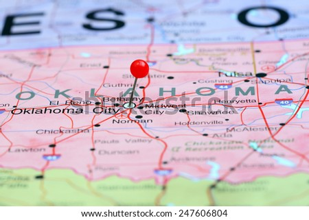 Oklahoma City pinned on a map of USA  - stock photo