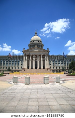 Oklahoma State Capitol Building - The state capitol building in Oklahoma City, with dome, stairs and columns.
