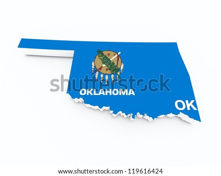 oklahoma state flag on 3d map - stock photo