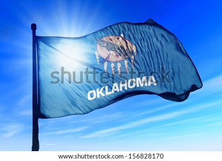 Oklahoma (USA) flag waving on the wind - stock photo