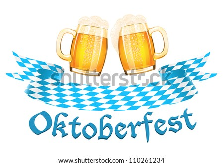 Oktoberfest banner with two beer mugs - stock photo
