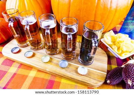 Oktoberfest Beer Flight - stock photo