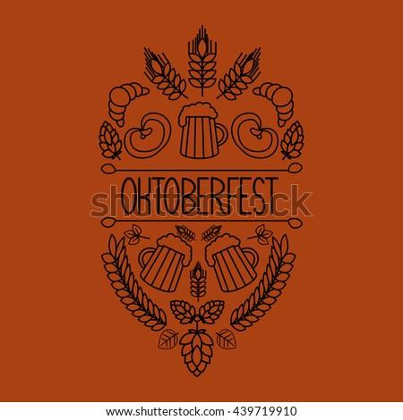 Oktoberfest traditional food and attributes on craft. Beer, craft brew house sketch doodle collection, hand drawn label elements. barrel, mug, wheat, hop plant, bottle, leaf, pretzel.  - stock photo