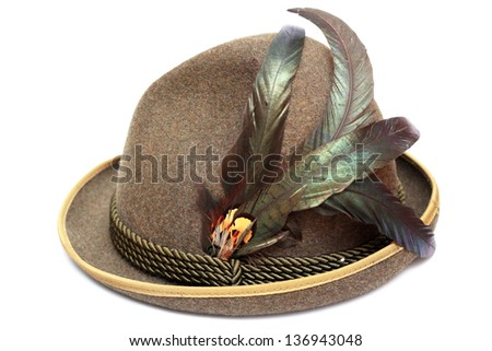 oktoberfest traditional german hat decorated with beautiful feathers - stock photo