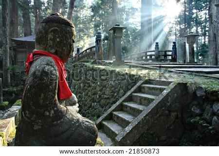 Okunoin Cemetery at Mount Koya - stock photo